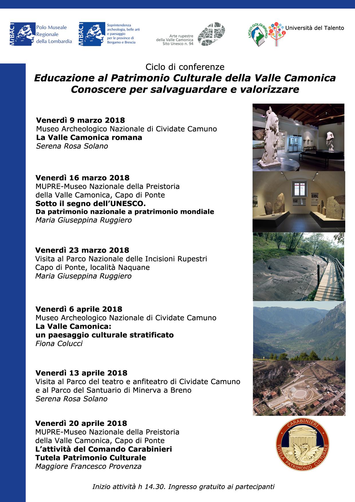 locandina conferenze patrimonio culturale valle camonica