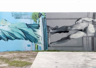 OZMO lady liberty and david sharing the same pedestal, Wynwood Art District, Miami , 2014
