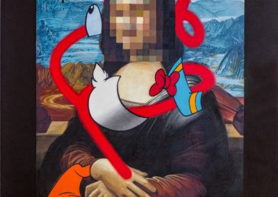 1. 'Pixelated Mona Lisa with deconstructed Donald Duck in Valle Camonica' © OZMO 2018  | Ph. D. Bassanesi