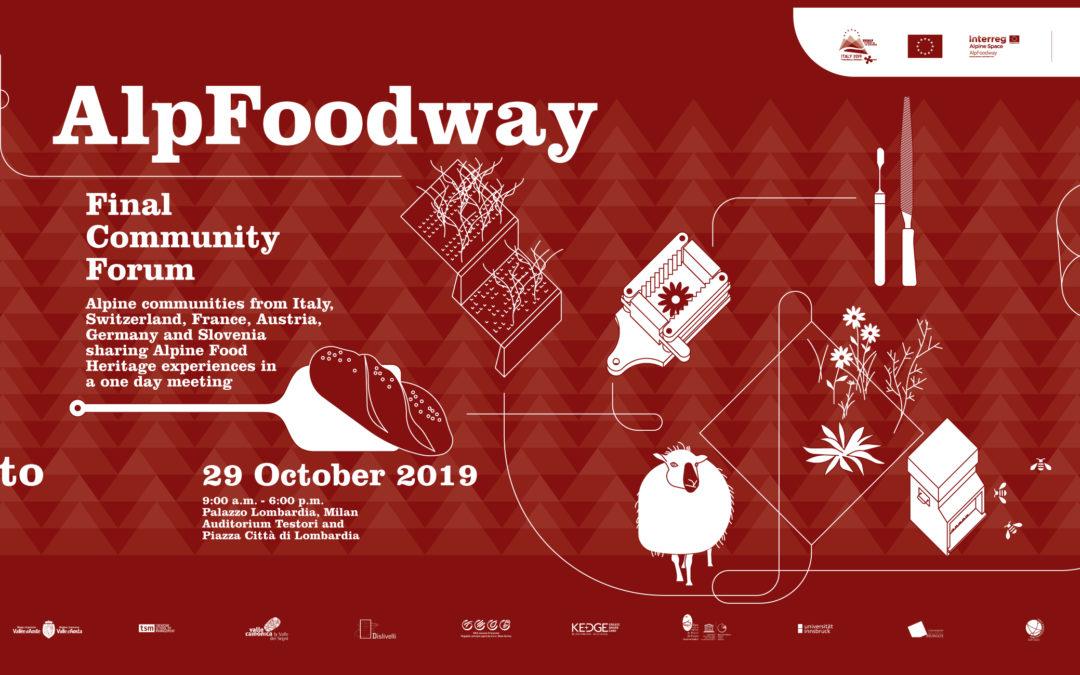 Alpfoodway: l'atto finale il 29 ottobre a Palazzo Lombardia