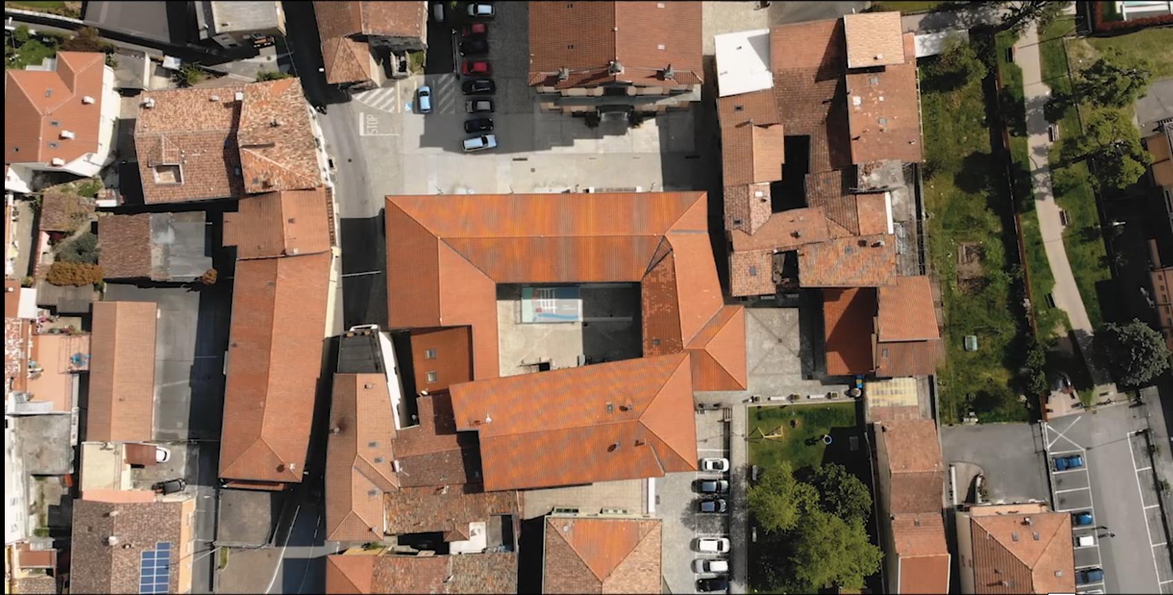 la nuova sede del Museo Archeologico Nazionale di Valle Camonica a Cividate Camuno vista dal drone