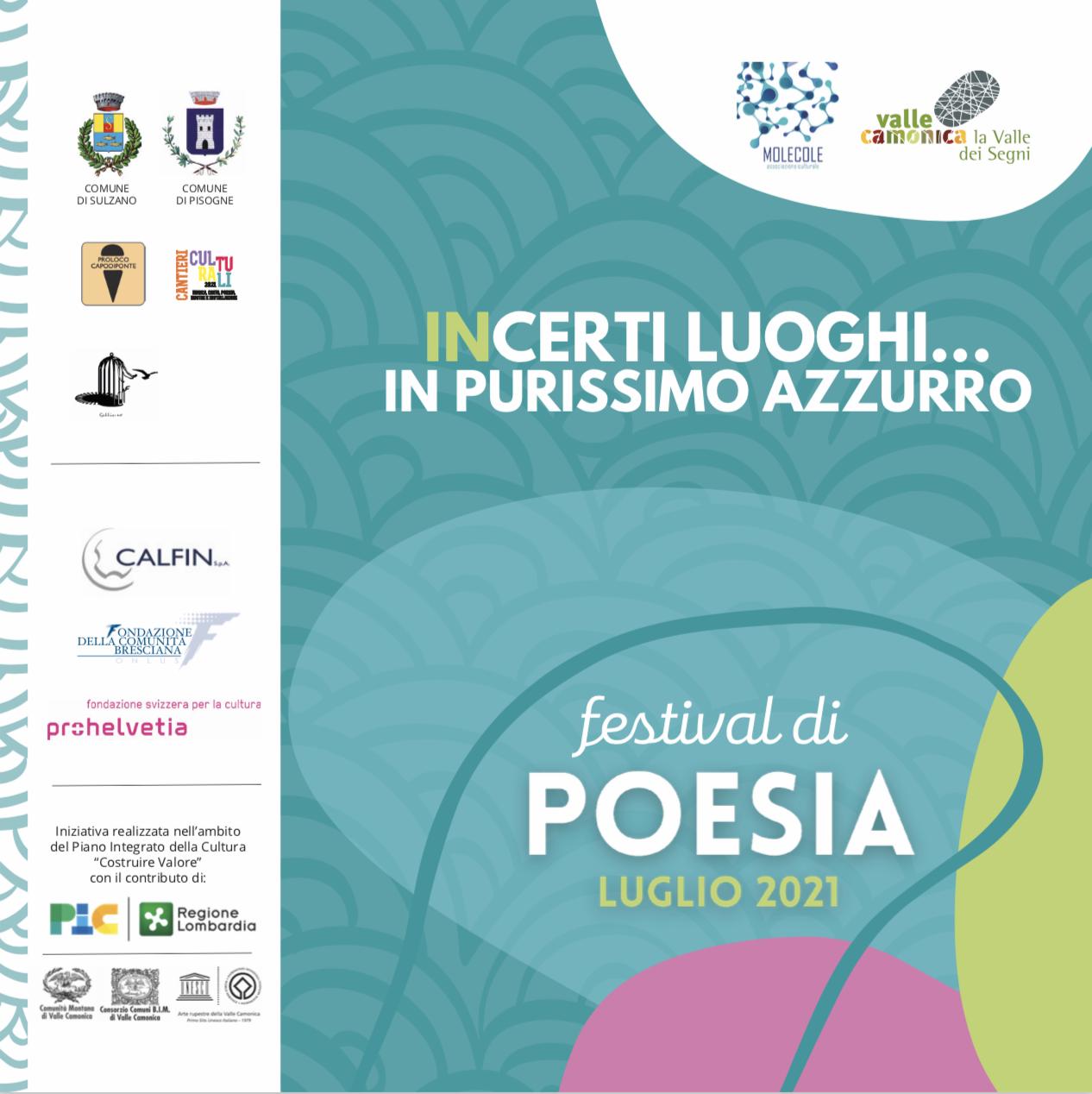 locandina incerti luoghi in purissimo azzurro - festival di poesia 2021 - molecole