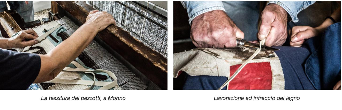 La tessitura dei pezzotti e la lavorazione e intreccio del legno