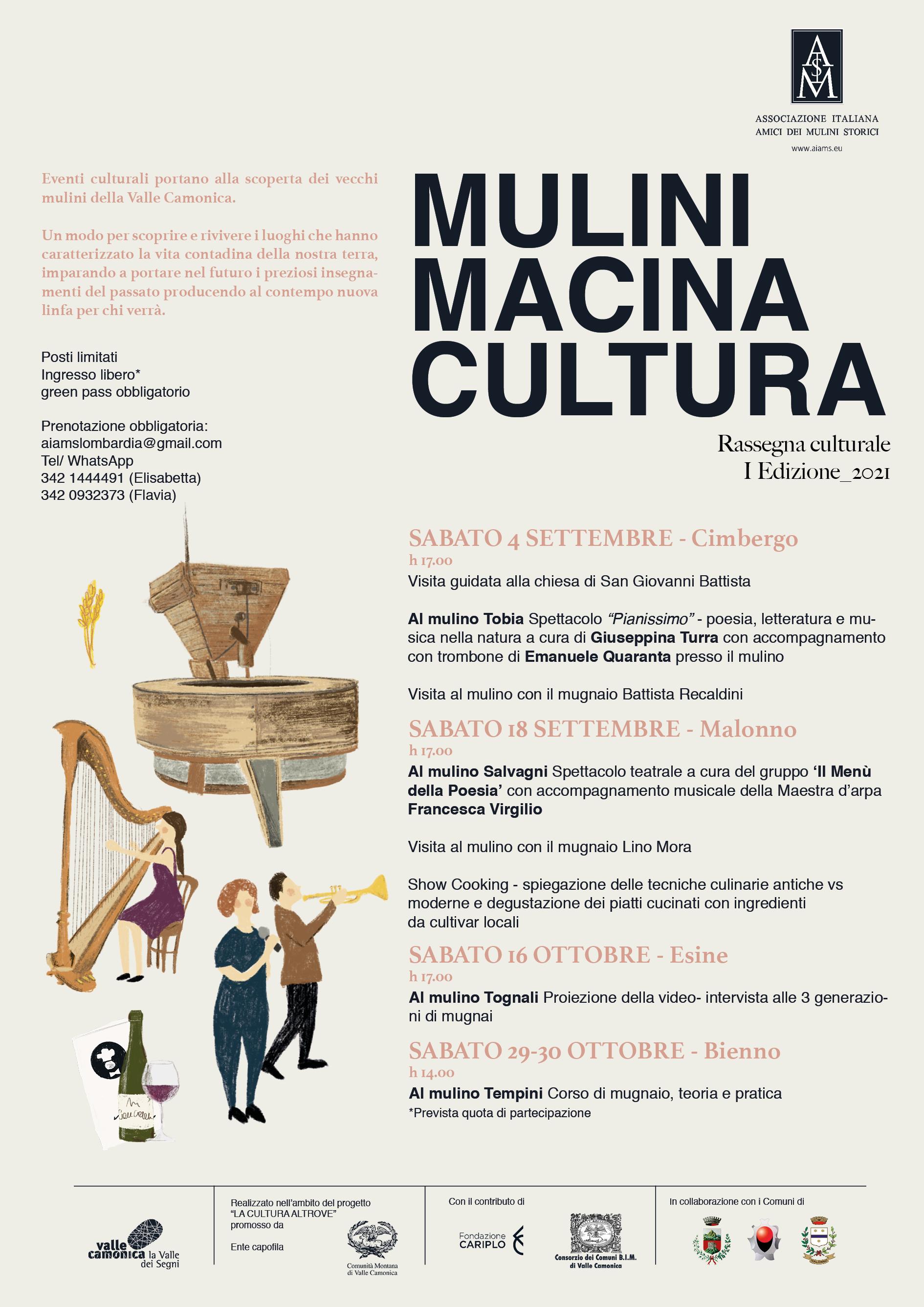Locandina MULINI MACINA CULTURA - La cultura altrove - Valle Camonica