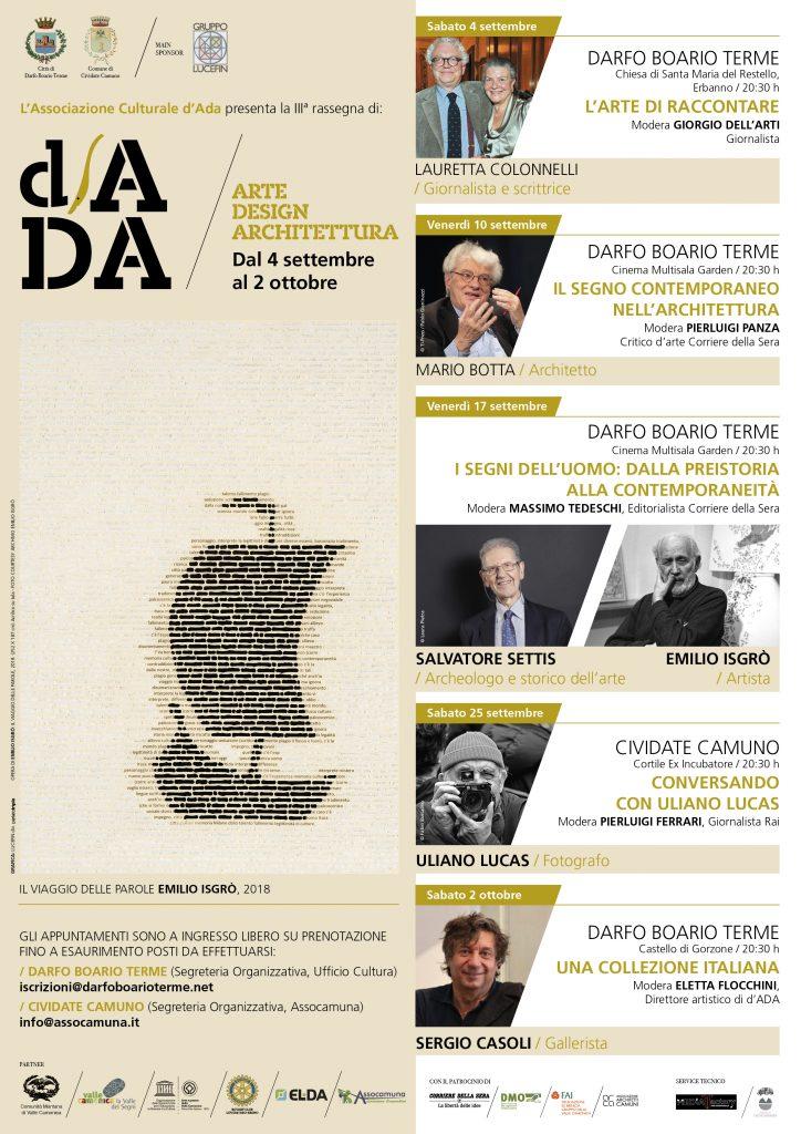 Locandina 3^ edizione dADA - Rassegna arte design architettura Valle Camonica