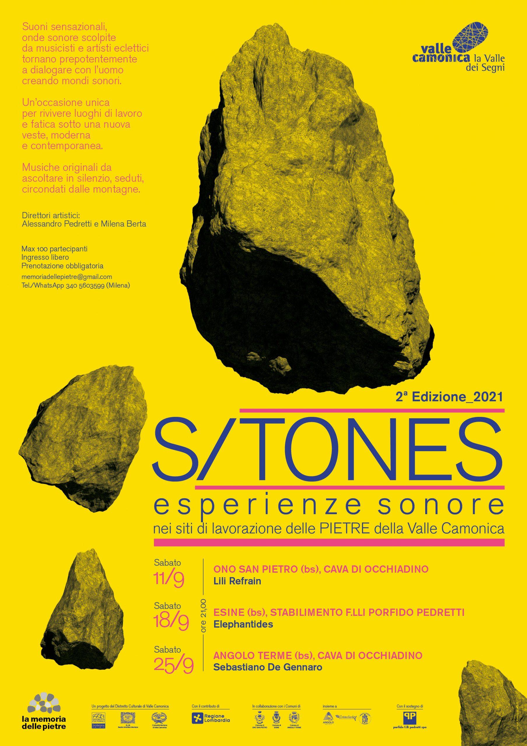 Locandina S/TONES 2021 - Distretto Culturale Valle Camonica - La memoria delle pietre