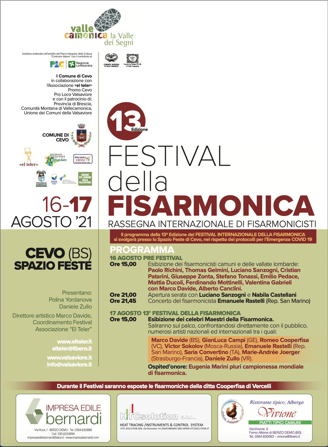 locandina - Festival della Fisarmonica - 13a edizione - Valsaviore - Valle Camonica