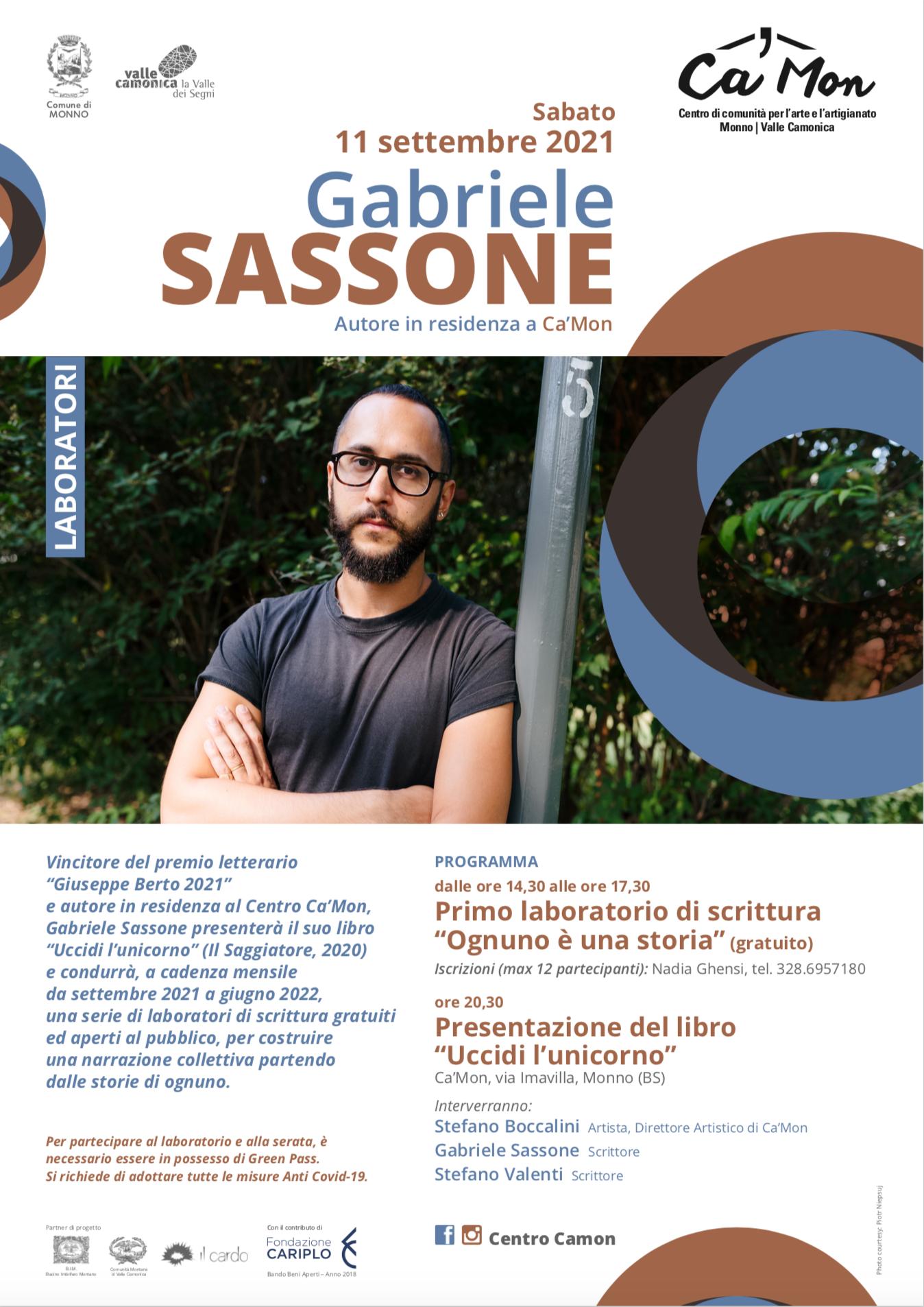 Locandina Gabriele Sassone, Centro Ca'Mon Monno Valle Camonica 11 settembre 2021