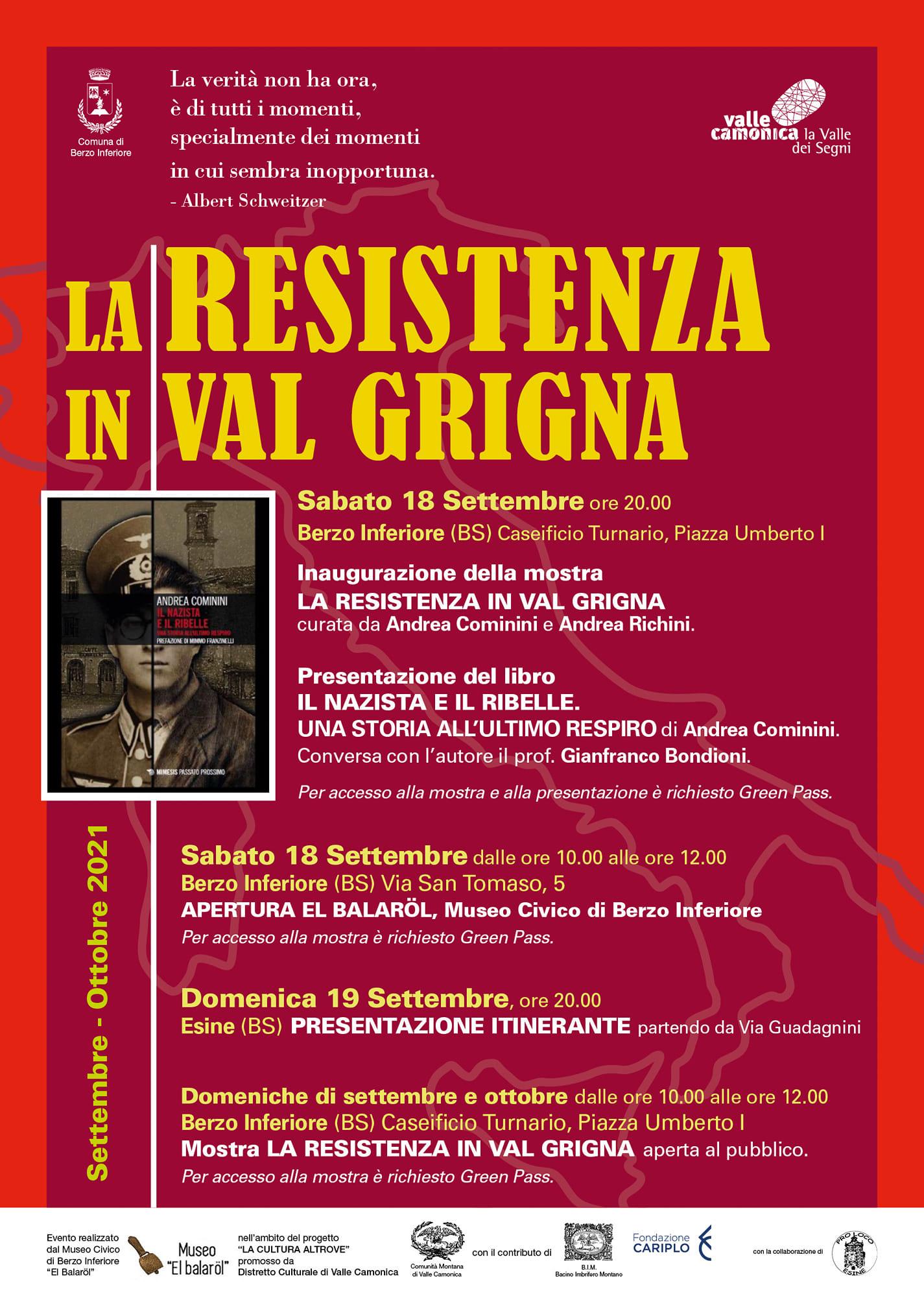 "Locandina ""La Resistenza in Val Grigna"""
