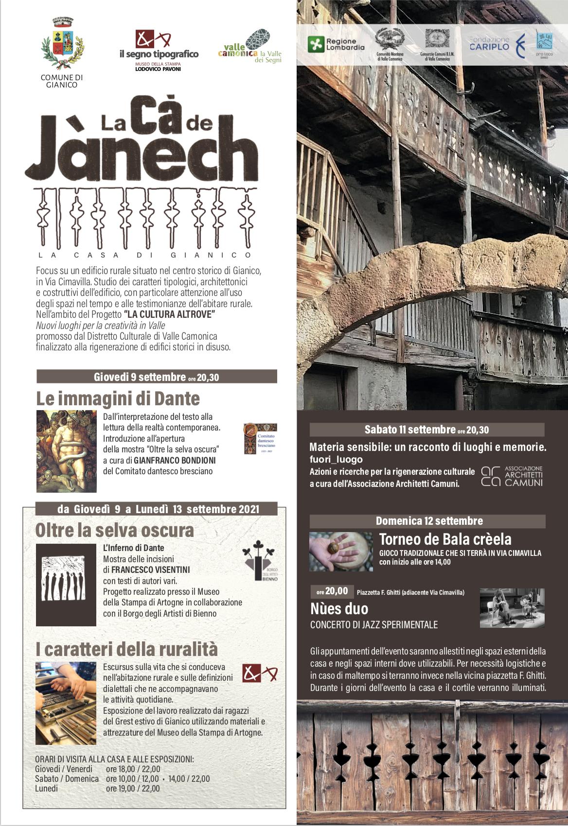 La cà de Jànech - La cultura altrove - Valle Camonica - Gli eventi