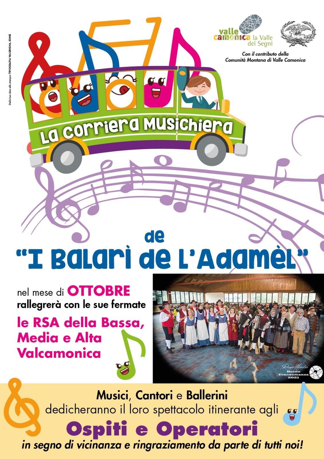 Locandina Corriera Musichiera nelle RSA della Valle Camonica